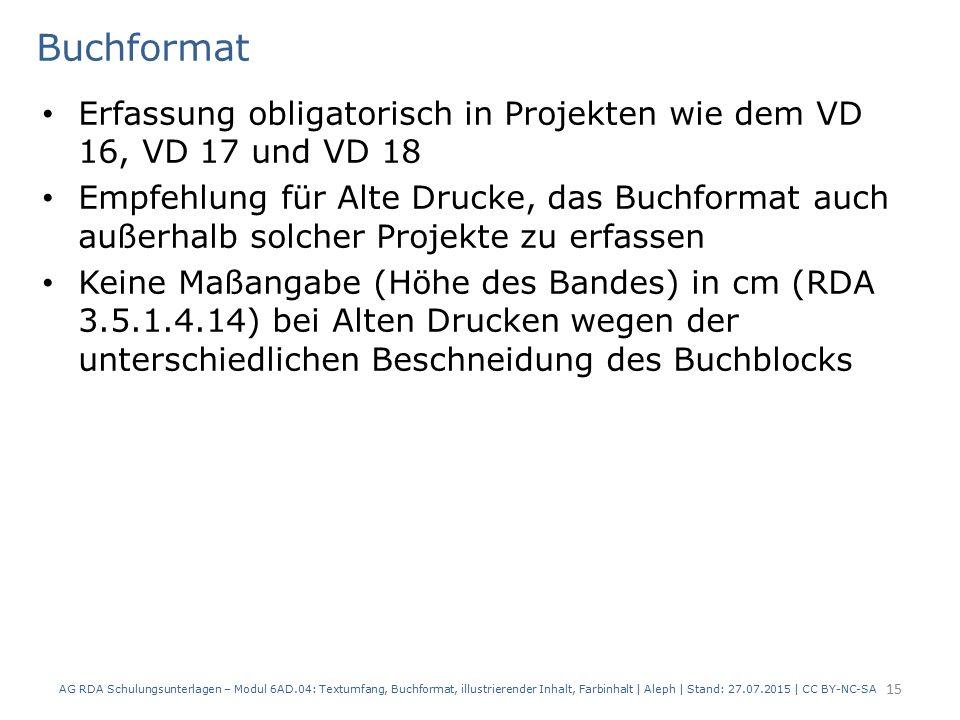 Buchformat Erfassung obligatorisch in Projekten wie dem VD 16, VD 17 und VD 18 Empfehlung für Alte Drucke, das Buchformat auch außerhalb solcher Proje