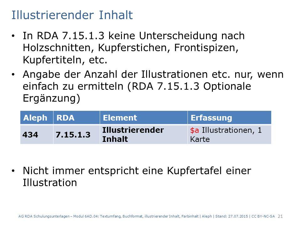 Illustrierender Inhalt In RDA 7.15.1.3 keine Unterscheidung nach Holzschnitten, Kupferstichen, Frontispizen, Kupfertiteln, etc. Angabe der Anzahl der
