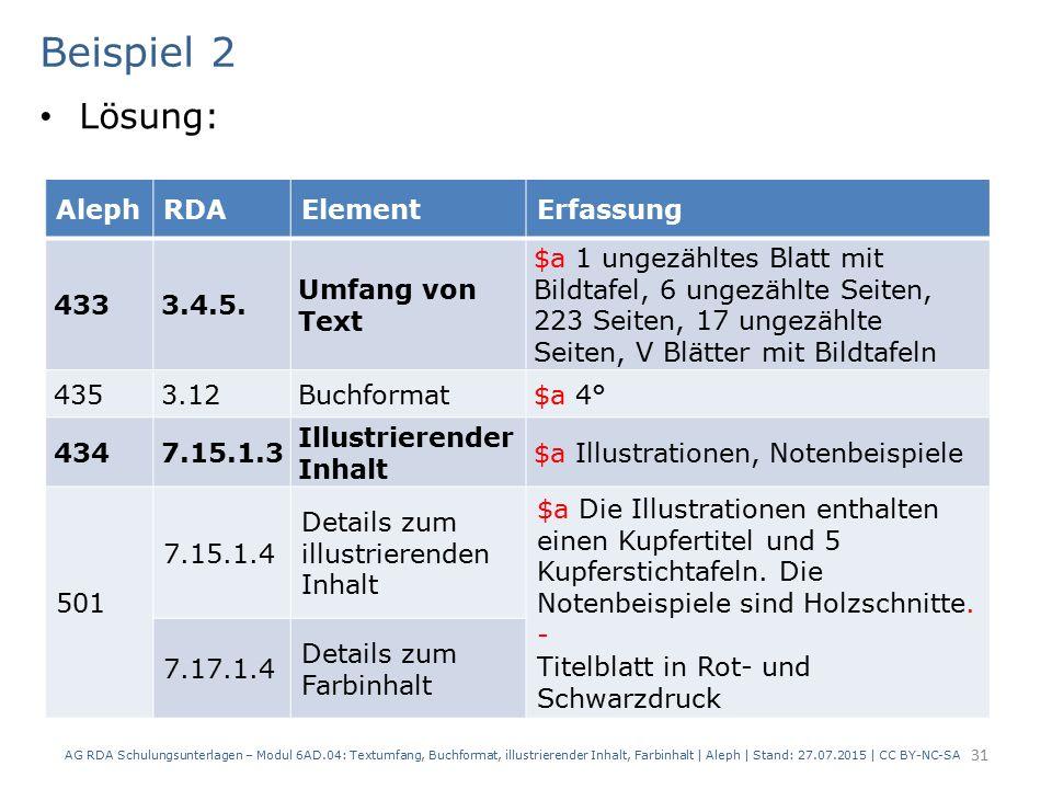 Beispiel 2 Lösung: AG RDA Schulungsunterlagen – Modul 6AD.04: Textumfang, Buchformat, illustrierender Inhalt, Farbinhalt | Aleph | Stand: 27.07.2015 |