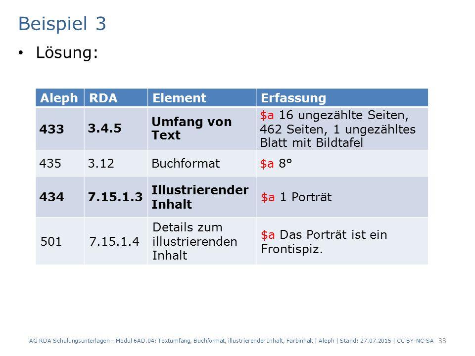 Beispiel 3 Lösung: AG RDA Schulungsunterlagen – Modul 6AD.04: Textumfang, Buchformat, illustrierender Inhalt, Farbinhalt | Aleph | Stand: 27.07.2015 |