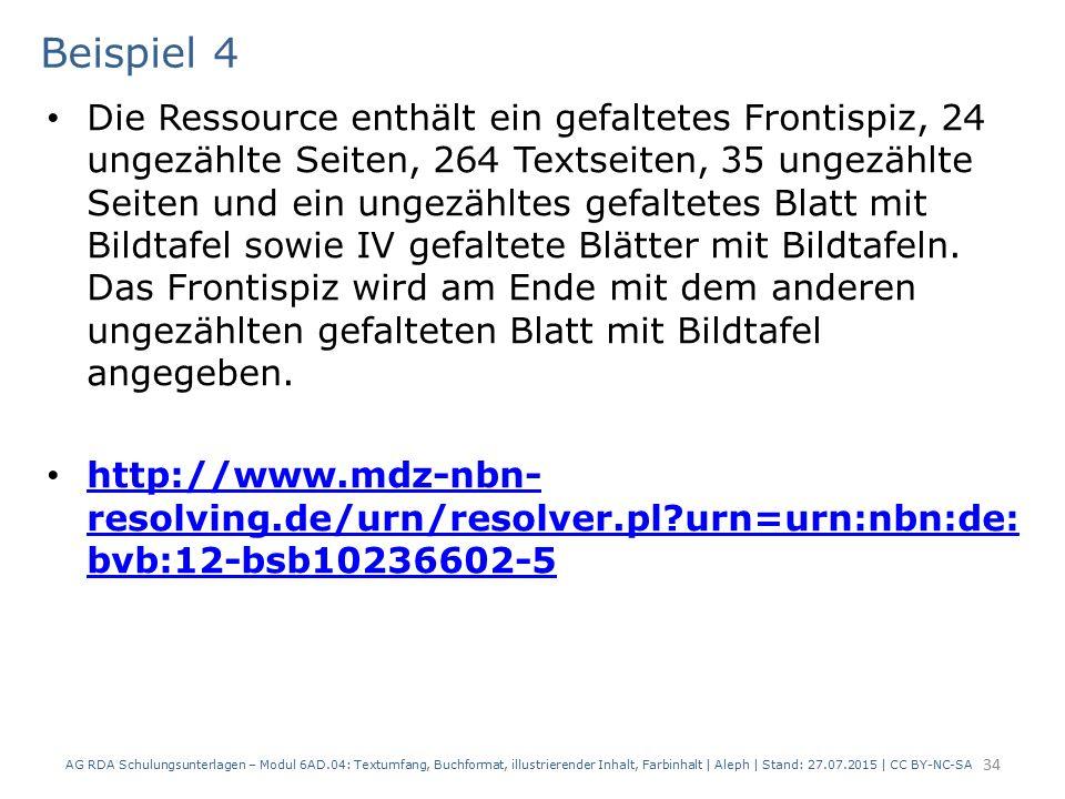 Beispiel 4 Die Ressource enthält ein gefaltetes Frontispiz, 24 ungezählte Seiten, 264 Textseiten, 35 ungezählte Seiten und ein ungezähltes gefaltetes