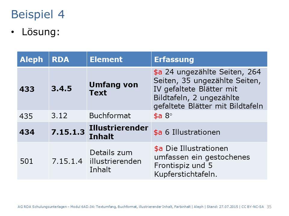 Beispiel 4 Lösung: AG RDA Schulungsunterlagen – Modul 6AD.04: Textumfang, Buchformat, illustrierender Inhalt, Farbinhalt | Aleph | Stand: 27.07.2015 |