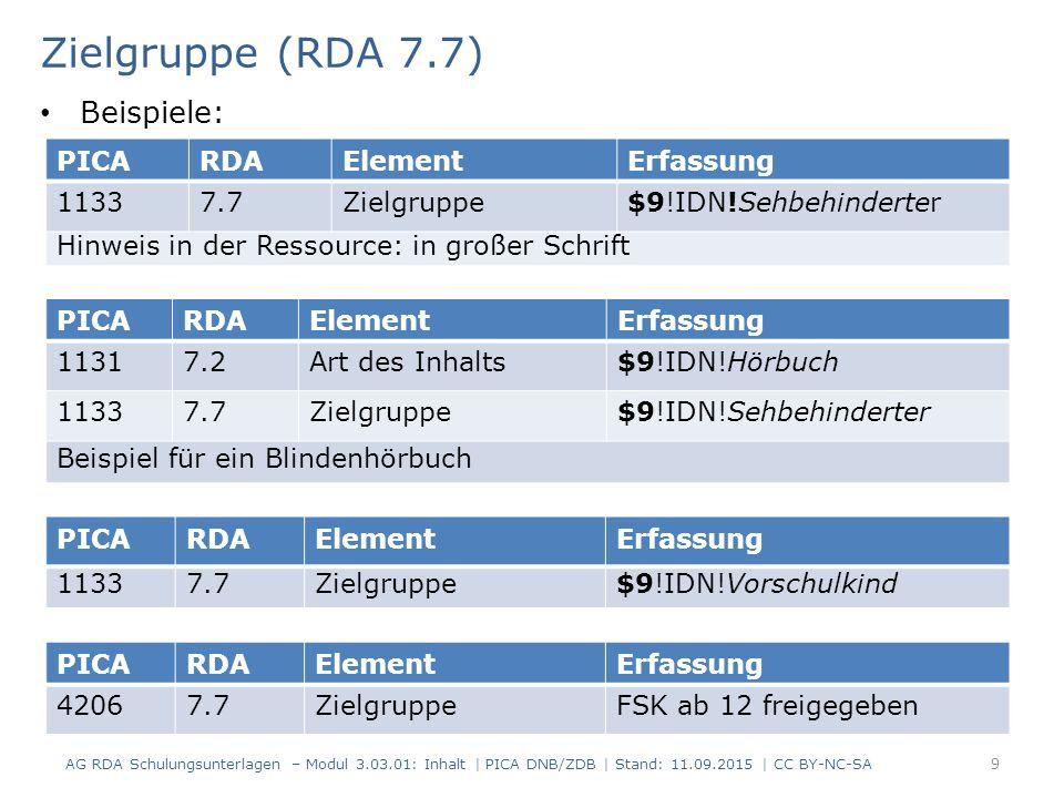 Zielgruppe (RDA 7.7) PICARDAElementErfassung 11337.7Zielgruppe$9!IDN!Sehbehinderter Hinweis in der Ressource: in großer Schrift PICARDAElementErfassun