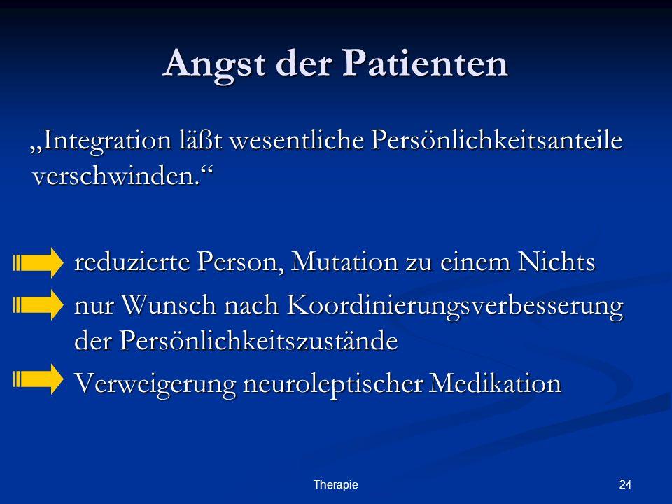 """24Therapie Angst der Patienten """"Integration läßt wesentliche Persönlichkeitsanteile verschwinden. """"Integration läßt wesentliche Persönlichkeitsanteile verschwinden. reduzierte Person, Mutation zu einem Nichts nur Wunsch nach Koordinierungsverbesserung der Persönlichkeitszustände Verweigerung neuroleptischer Medikation"""