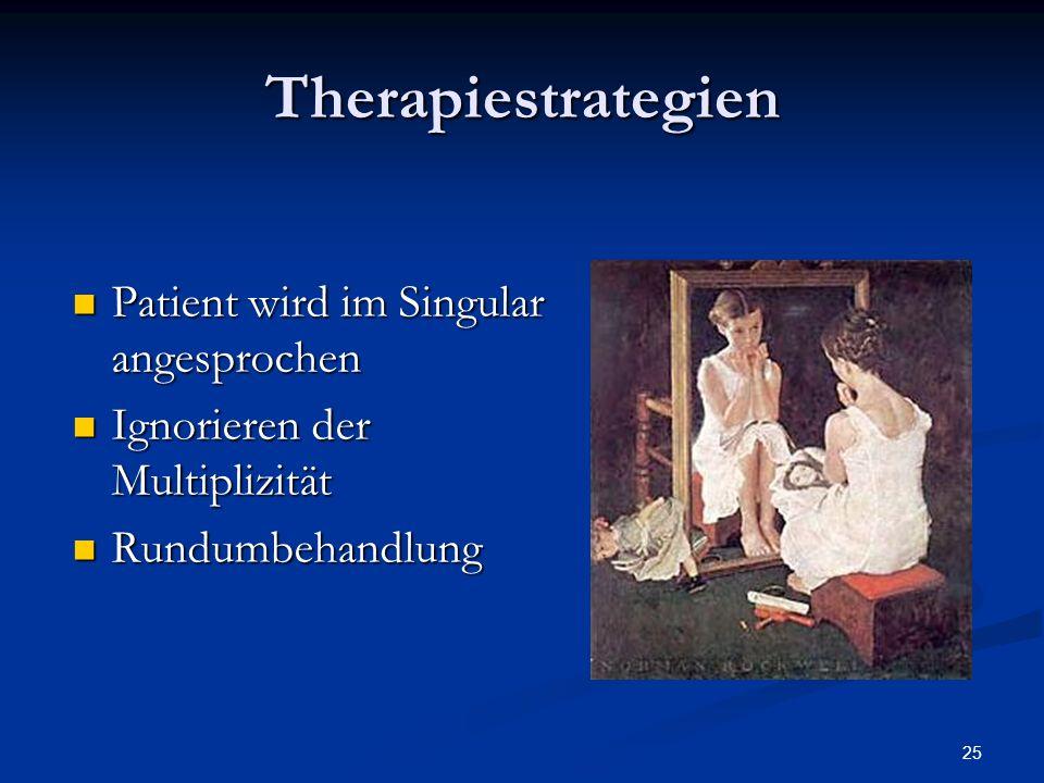 25 Therapiestrategien Patient wird im Singular angesprochen Patient wird im Singular angesprochen Ignorieren der Multiplizität Ignorieren der Multiplizität Rundumbehandlung Rundumbehandlung