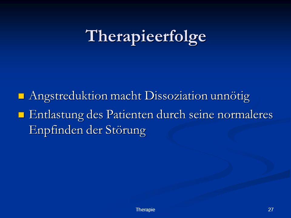 27Therapie Therapieerfolge Angstreduktion macht Dissoziation unnötig Angstreduktion macht Dissoziation unnötig Entlastung des Patienten durch seine normaleres Enpfinden der Störung Entlastung des Patienten durch seine normaleres Enpfinden der Störung