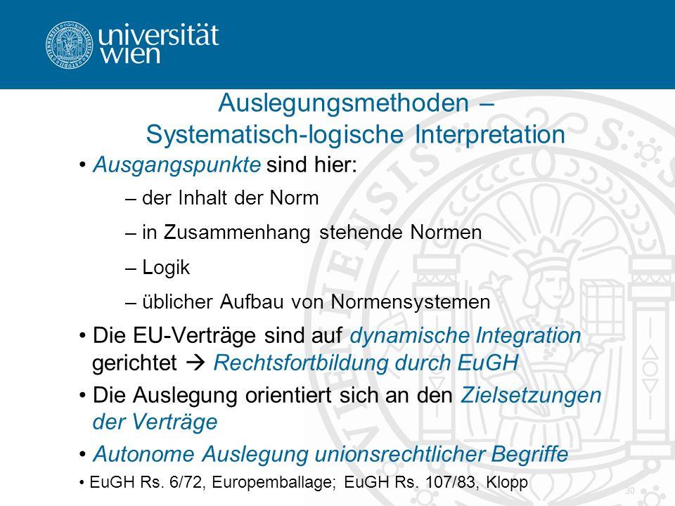 30 Ausgangspunkte sind hier: – der Inhalt der Norm – in Zusammenhang stehende Normen – Logik – üblicher Aufbau von Normensystemen Die EU-Verträge sind