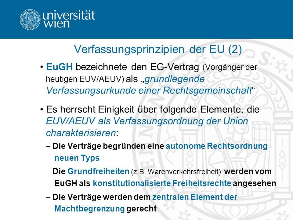 """8 Verfassungsprinzipien der EU (2) EuGH bezeichnete den EG-Vertrag (Vorgänger der heutigen EUV/AEUV) als """"grundlegende Verfassungsurkunde einer Rechtsgemeinschaft Es herrscht Einigkeit über folgende Elemente, die EUV/AEUV als Verfassungsordnung der Union charakterisieren: – Die Verträge begründen eine autonome Rechtsordnung neuen Typs – Die Grundfreiheiten (z.B."""