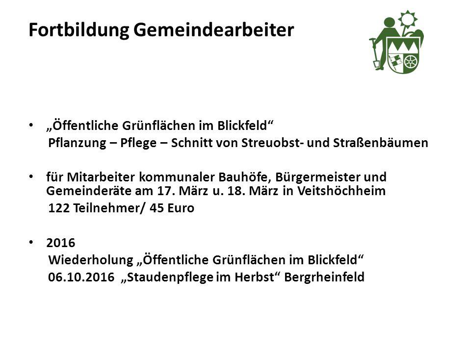 """Fortbildung Gemeindearbeiter """"Öffentliche Grünflächen im Blickfeld Pflanzung – Pflege – Schnitt von Streuobst- und Straßenbäumen für Mitarbeiter kommunaler Bauhöfe, Bürgermeister und Gemeinderäte am 17."""