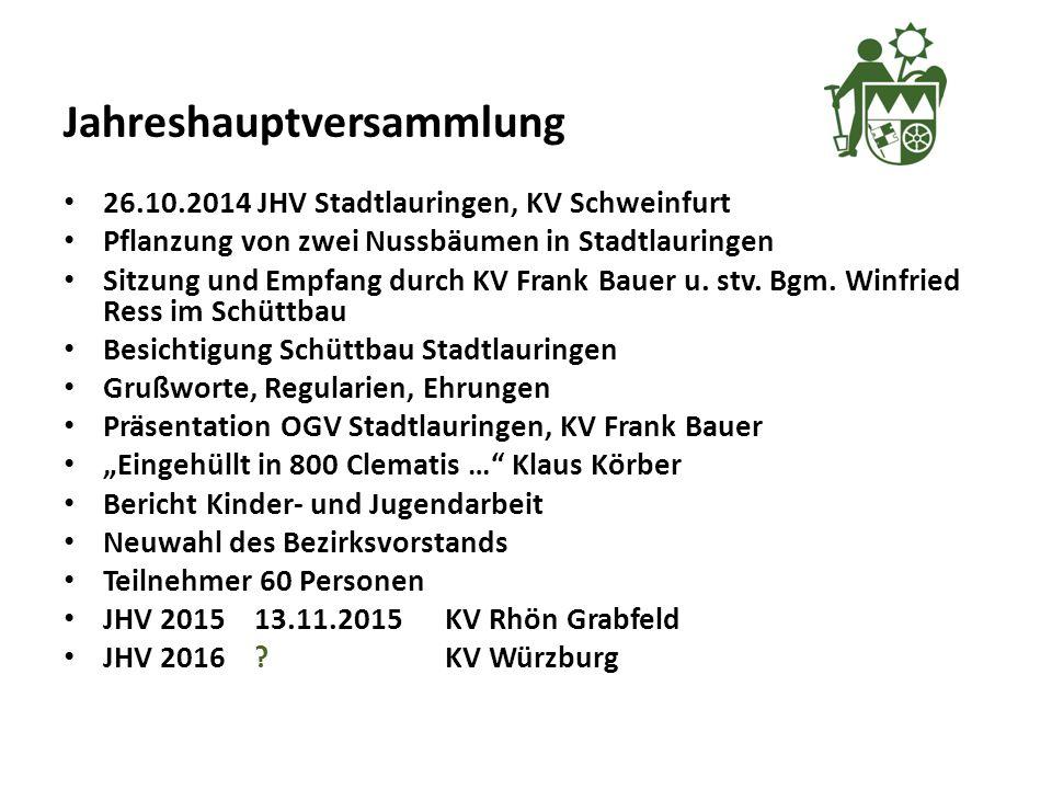 Jahreshauptversammlung 26.10.2014 JHV Stadtlauringen, KV Schweinfurt Pflanzung von zwei Nussbäumen in Stadtlauringen Sitzung und Empfang durch KV Frank Bauer u.