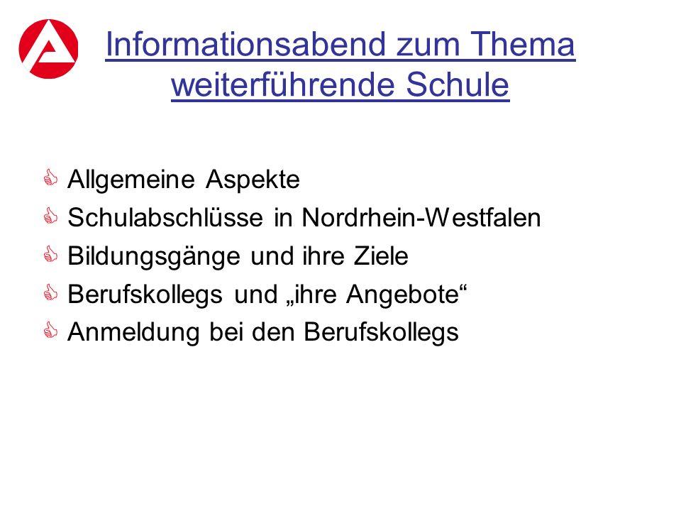 Informationsabend zum Thema weiterführende Schule  Allgemeine Aspekte  Schulabschlüsse in Nordrhein-Westfalen  Bildungsgänge und ihre Ziele  Beruf
