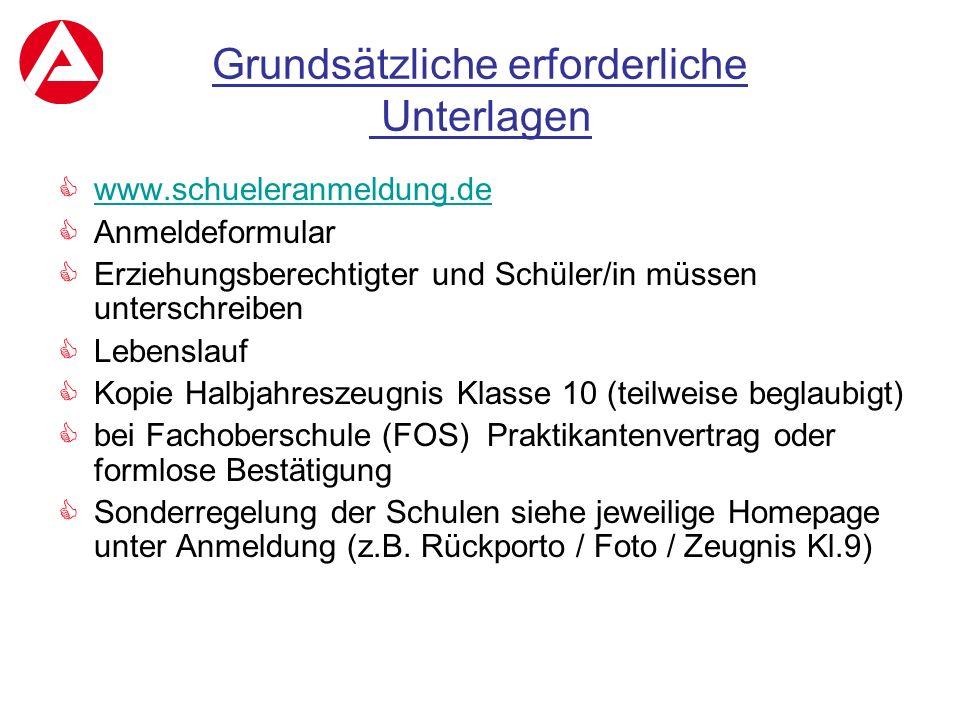 Grundsätzliche erforderliche Unterlagen  www.schueleranmeldung.de www.schueleranmeldung.de  Anmeldeformular  Erziehungsberechtigter und Schüler/in