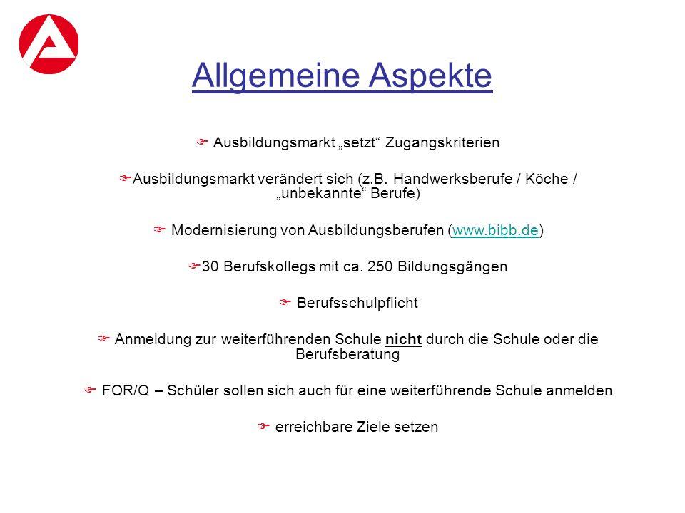 """Allgemeine Aspekte  Ausbildungsmarkt """"setzt"""" Zugangskriterien  Ausbildungsmarkt verändert sich (z.B. Handwerksberufe / Köche / """"unbekannte"""" Berufe)"""