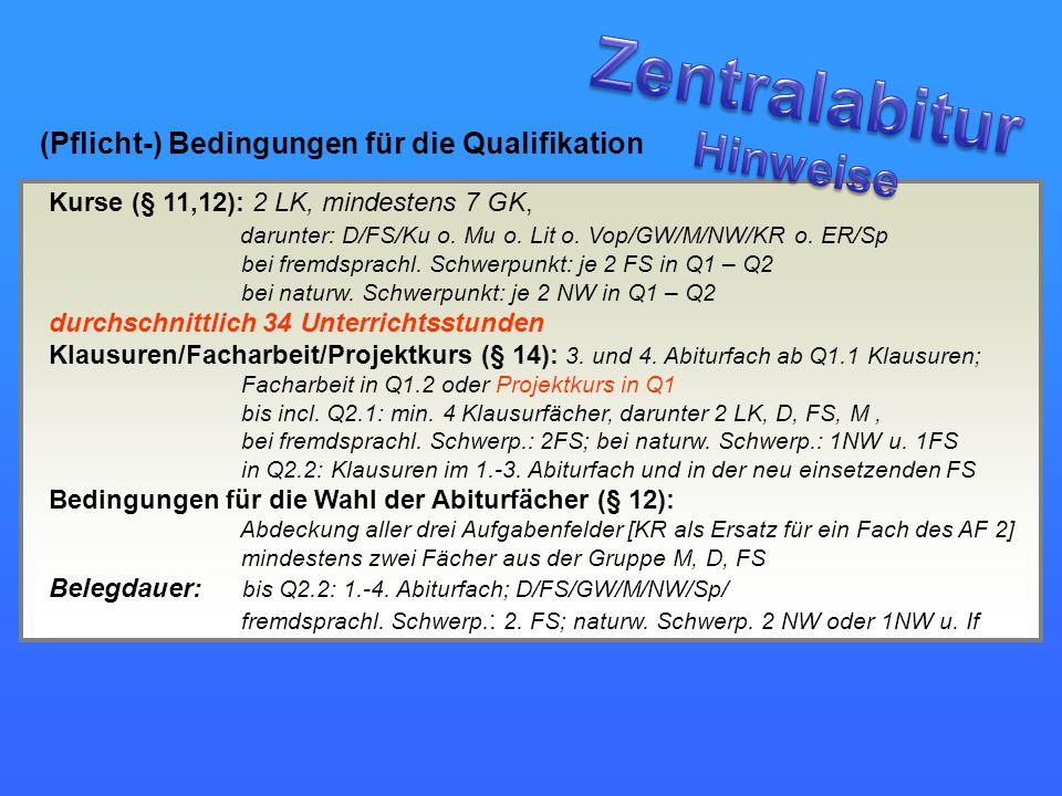 (Pflicht-) Bedingungen für die Qualifikation Kurse (§ 11,12): 2 LK, mindestens 7 GK, darunter: D/FS/Ku o. Mu o. Lit o. Vop/GW/M/NW/KR o. ER/Sp bei fre