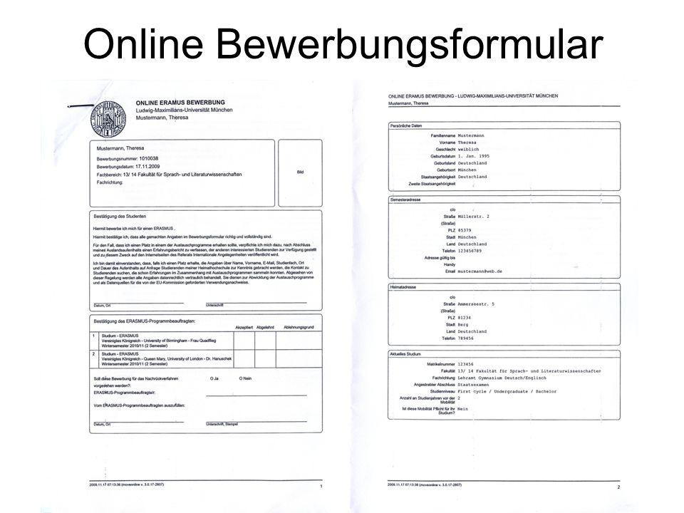 Online Bewerbungsformular