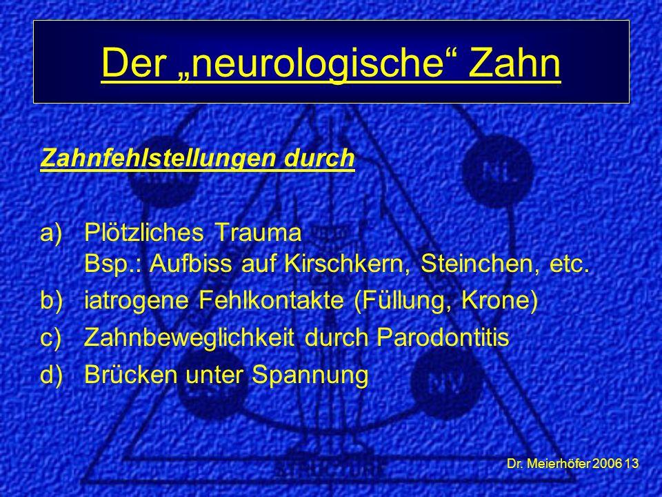 Dr. Meierhöfer 2006 13 Zahnfehlstellungen durch a)Plötzliches Trauma Bsp.: Aufbiss auf Kirschkern, Steinchen, etc. b)iatrogene Fehlkontakte (Füllung,