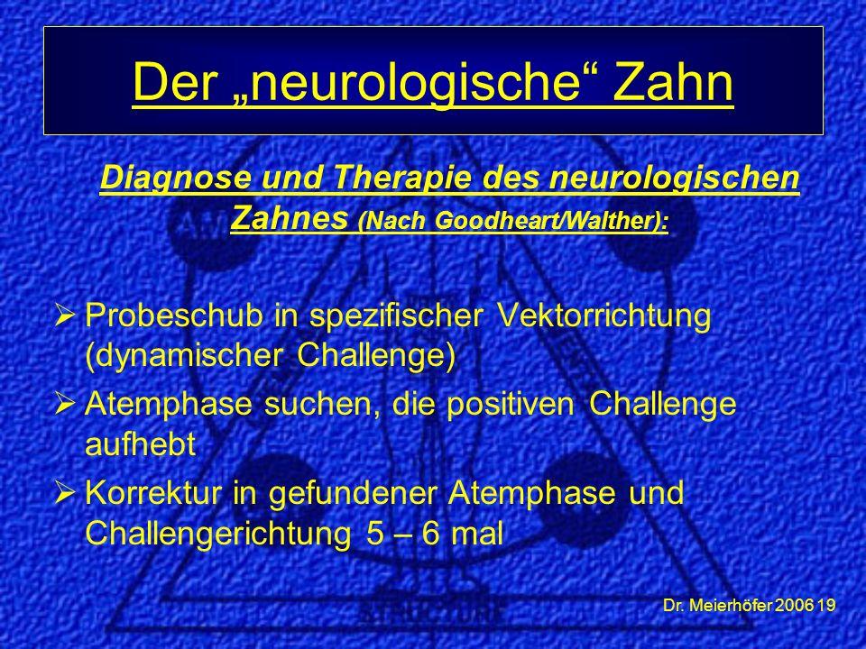 Dr. Meierhöfer 2006 19 Diagnose und Therapie des neurologischen Zahnes (Nach Goodheart/Walther):  Probeschub in spezifischer Vektorrichtung (dynamisc