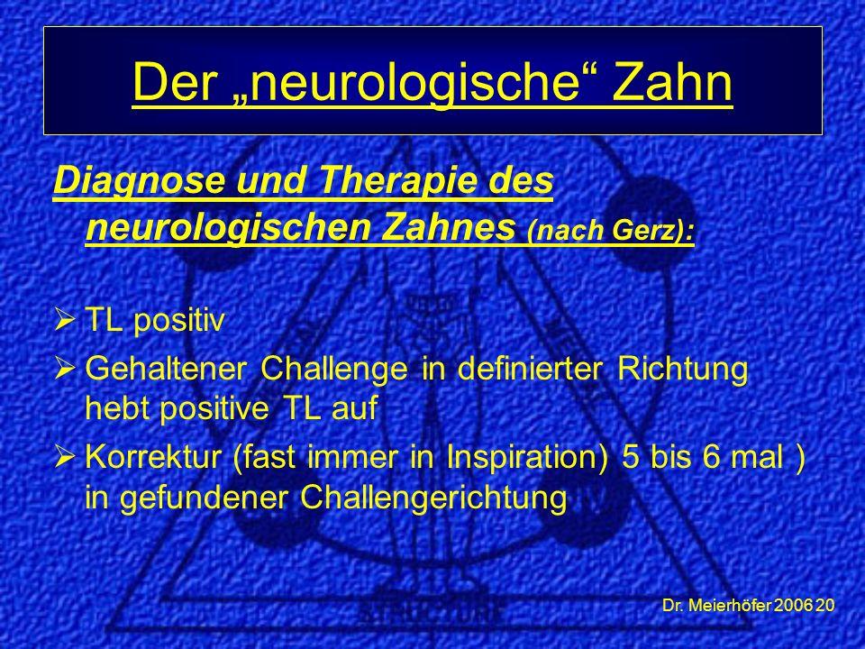 Dr. Meierhöfer 2006 20 Diagnose und Therapie des neurologischen Zahnes (nach Gerz):  TL positiv  Gehaltener Challenge in definierter Richtung hebt p