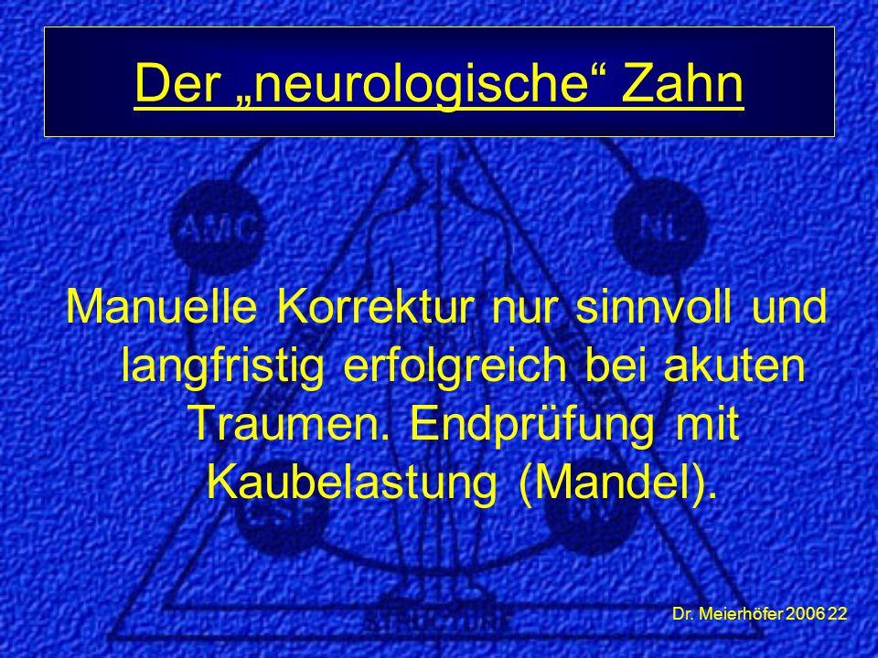 """Dr. Meierhöfer 2006 22 Manuelle Korrektur nur sinnvoll und langfristig erfolgreich bei akuten Traumen. Endprüfung mit Kaubelastung (Mandel). Der """"neur"""