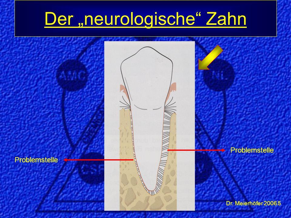 Dr. Meierhöfer 2006 16 Periphere Auswirkungen des neurologischen Zahnes: