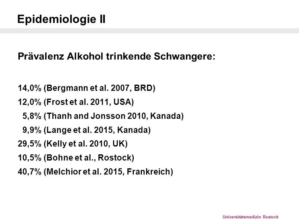 Universitätsmedizin Rostock Diagnosekriterien FAS – S3-LL, Landgraf und Heiden 2013 Zur Diagnose eines FAS sollten alle folgenden Kriterien zutreffen: 1.Wachstumsauffälligkeiten 2.Faciale Auffälligkeiten 3.ZNS - Auffälligkeiten 4.Bestätigte oder nicht bestätigte intrauterine Alkoholexposition