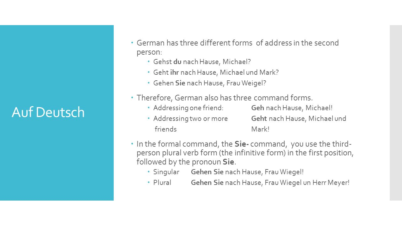Auf Deutsch  German has three different forms of address in the second person:  Gehst du nach Hause, Michael.