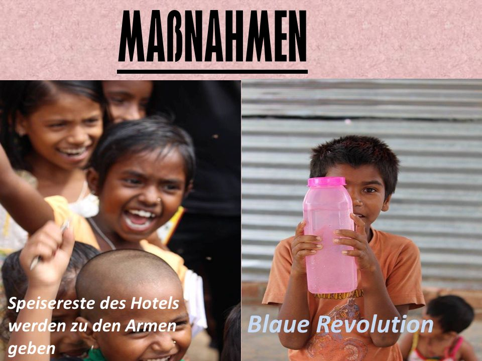 MAßNAHMEN Blaue Revolution Speisereste des Hotels werden zu den Armen geben