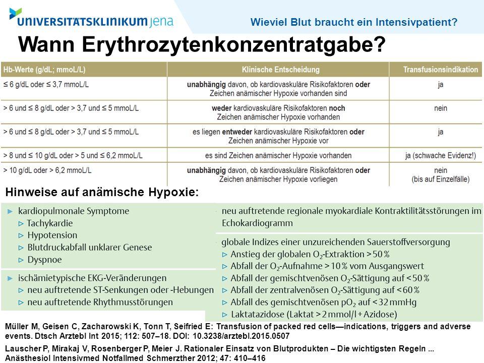 Wieviel Blut braucht ein Intensivpatient? Wann Erythrozytenkonzentratgabe? Müller M, Geisen C, Zacharowski K, Tonn T, Seifried E: Transfusion of packe