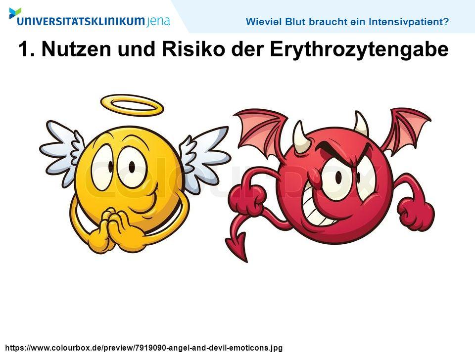 Wieviel Blut braucht ein Intensivpatient? 1. Nutzen und Risiko der Erythrozytengabe https://www.colourbox.de/preview/7919090-angel-and-devil-emoticons