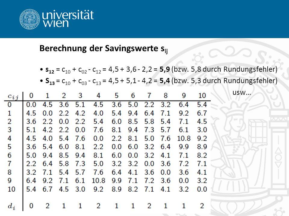 s 12 = c 10 + c 02 - c 12 = 4,5 + 3,6 - 2,2 = 5,9 (bzw. 5,8 durch Rundungsfehler) S 13 = c 10 + c 03 - c 13 = 4,5 + 5,1 - 4,2 = 5,4 (bzw. 5,3 durch Ru