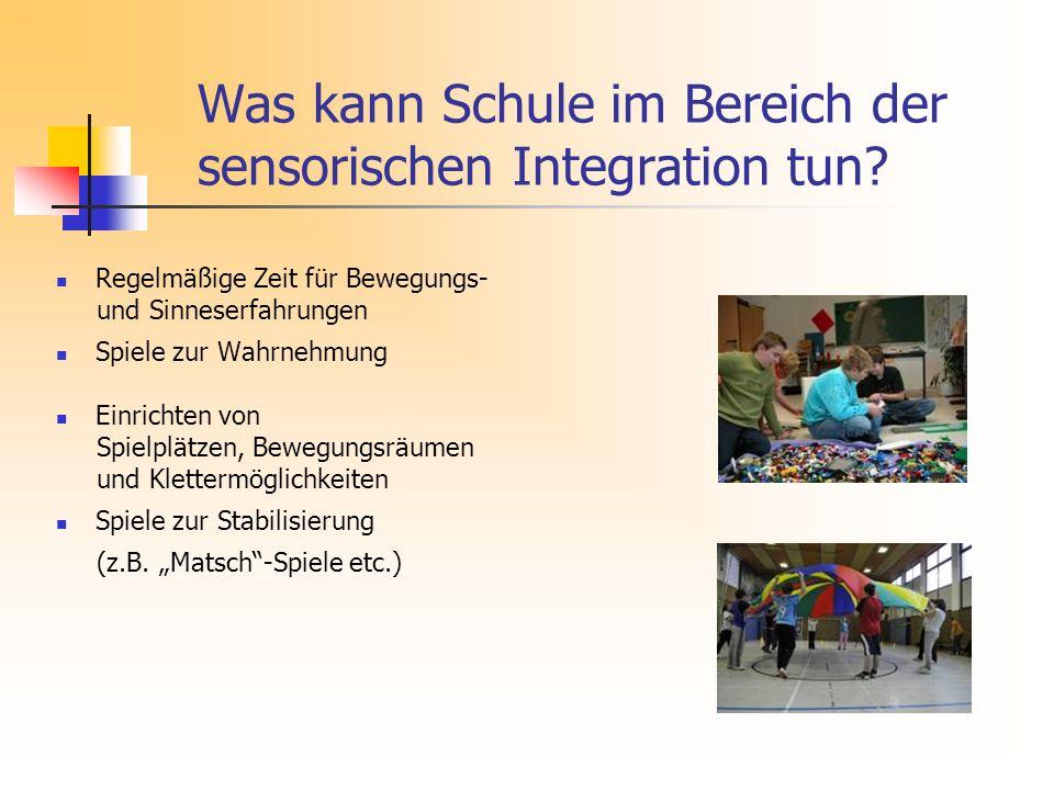 Was kann Schule im Bereich der sensorischen Integration tun.