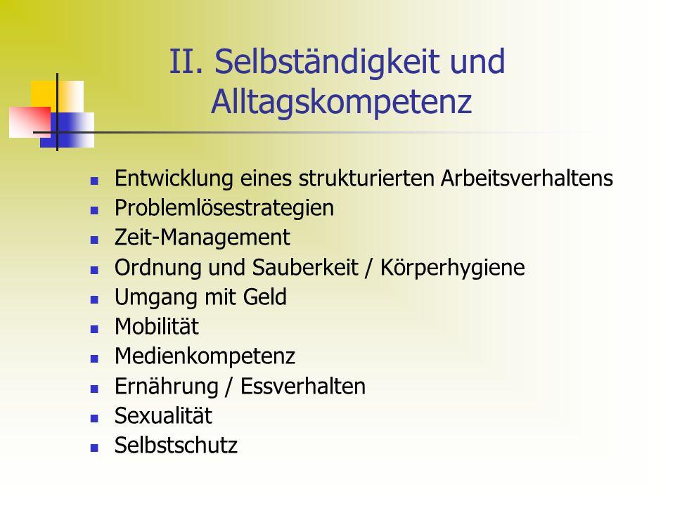 II. Selbständigkeit und Alltagskompetenz Entwicklung eines strukturierten Arbeitsverhaltens Problemlösestrategien Zeit-Management Ordnung und Sauberke