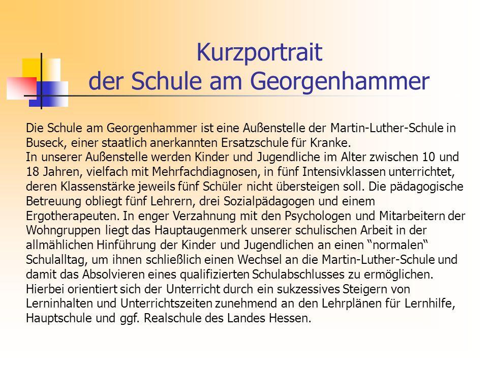 Kurzportrait der Schule am Georgenhammer Die Schule am Georgenhammer ist eine Außenstelle der Martin-Luther-Schule in Buseck, einer staatlich anerkannten Ersatzschule für Kranke.