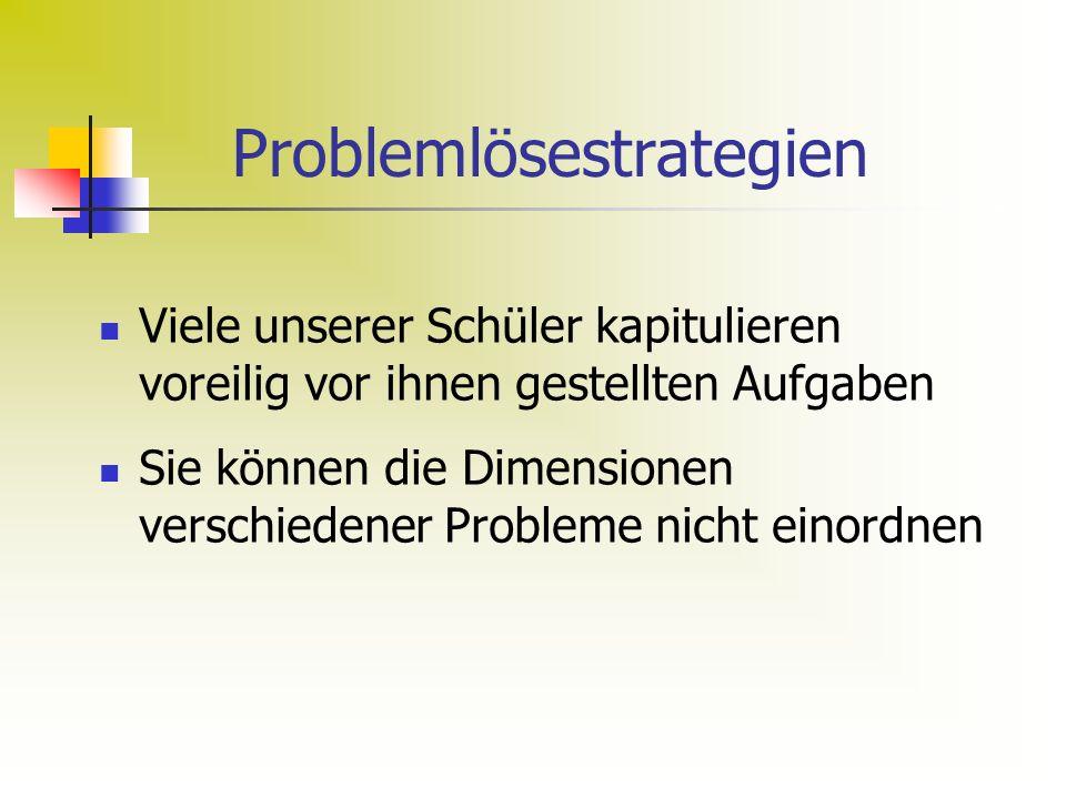 Problemlösestrategien Viele unserer Schüler kapitulieren voreilig vor ihnen gestellten Aufgaben Sie können die Dimensionen verschiedener Probleme nicht einordnen