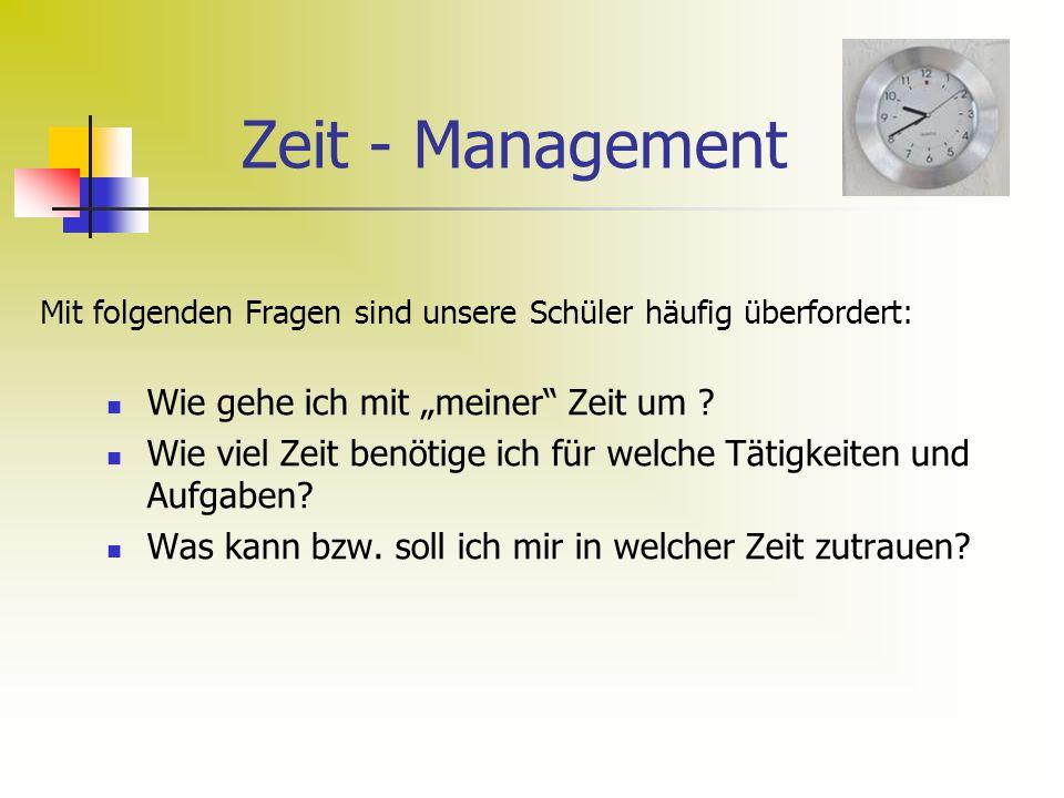 """Zeit - Management Wie gehe ich mit """"meiner Zeit um ."""