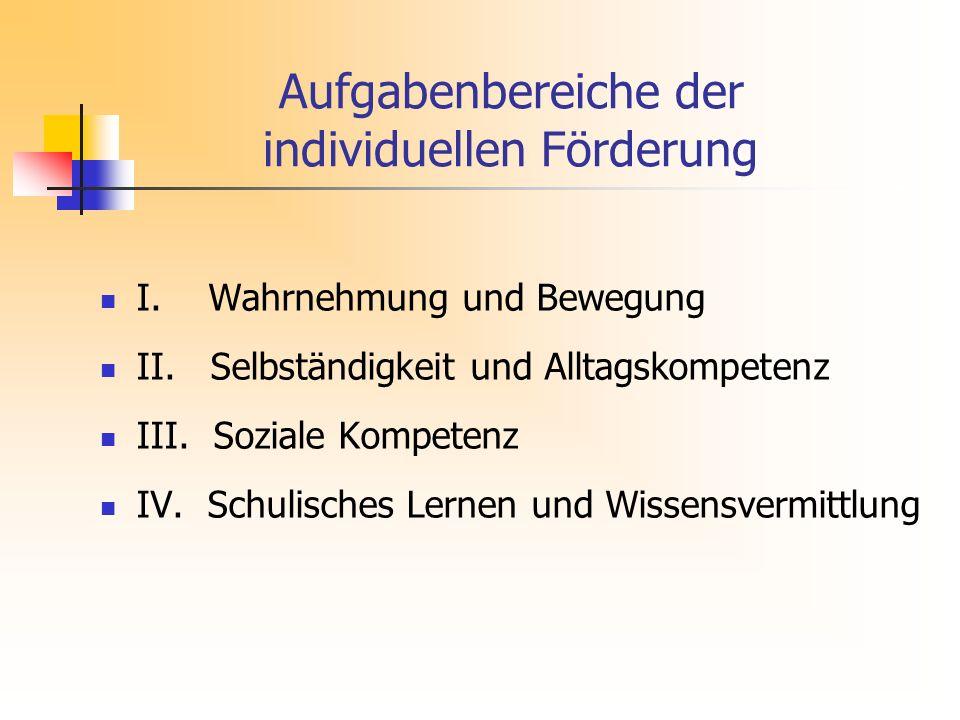 Aufgabenbereiche der individuellen Förderung I.Wahrnehmung und Bewegung II.