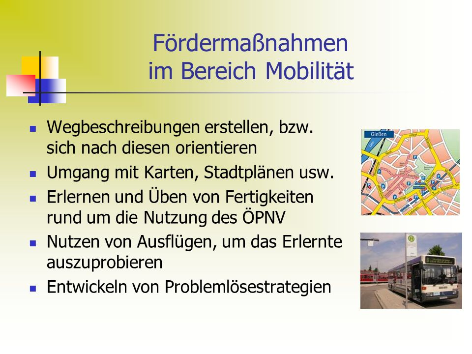 Fördermaßnahmen im Bereich Mobilität Wegbeschreibungen erstellen, bzw.