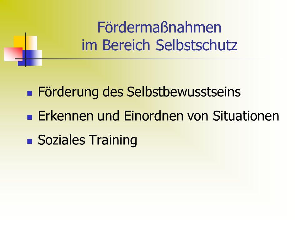 Fördermaßnahmen im Bereich Selbstschutz Förderung des Selbstbewusstseins Erkennen und Einordnen von Situationen Soziales Training