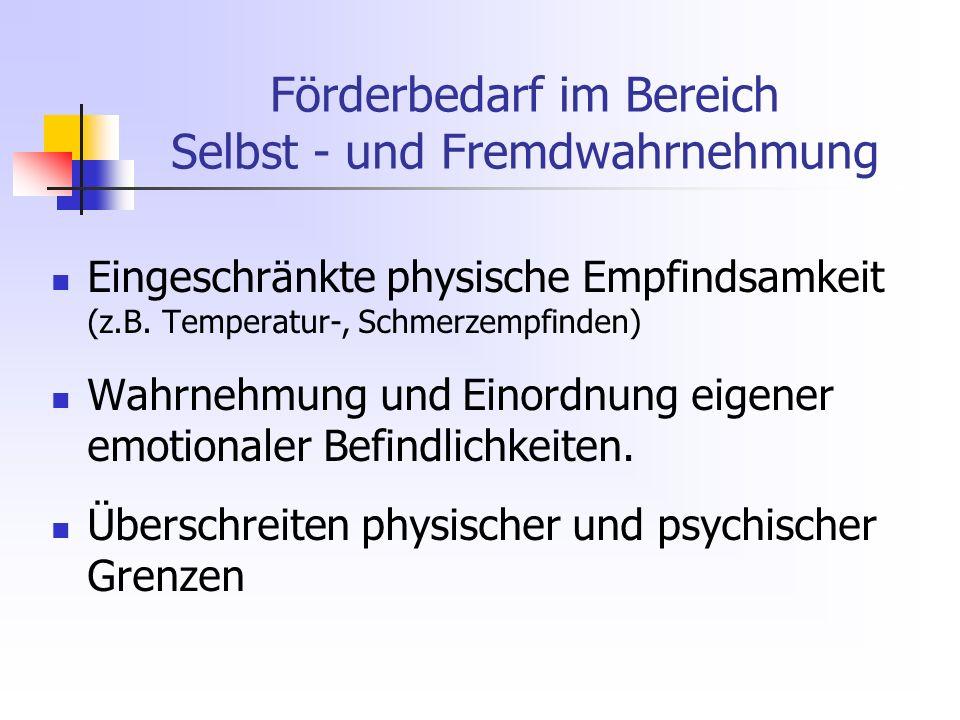 Förderbedarf im Bereich Selbst - und Fremdwahrnehmung Eingeschränkte physische Empfindsamkeit (z.B.