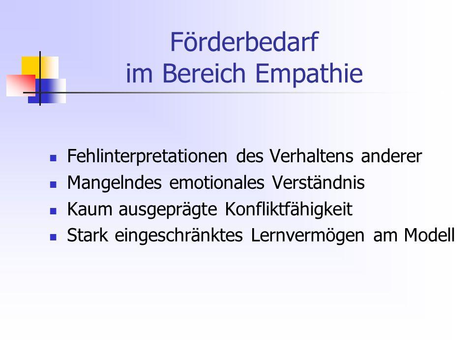 Förderbedarf im Bereich Empathie Fehlinterpretationen des Verhaltens anderer Mangelndes emotionales Verständnis Kaum ausgeprägte Konfliktfähigkeit Stark eingeschränktes Lernvermögen am Modell