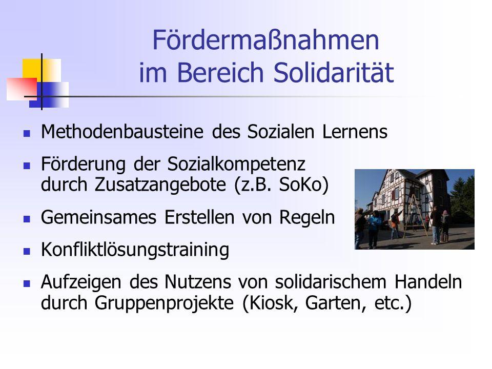 Fördermaßnahmen im Bereich Solidarität Methodenbausteine des Sozialen Lernens Förderung der Sozialkompetenz durch Zusatzangebote (z.B.