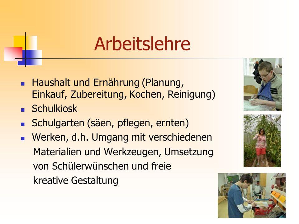 Haushalt und Ernährung (Planung, Einkauf, Zubereitung, Kochen, Reinigung) Schulkiosk Schulgarten (säen, pflegen, ernten) Werken, d.h.