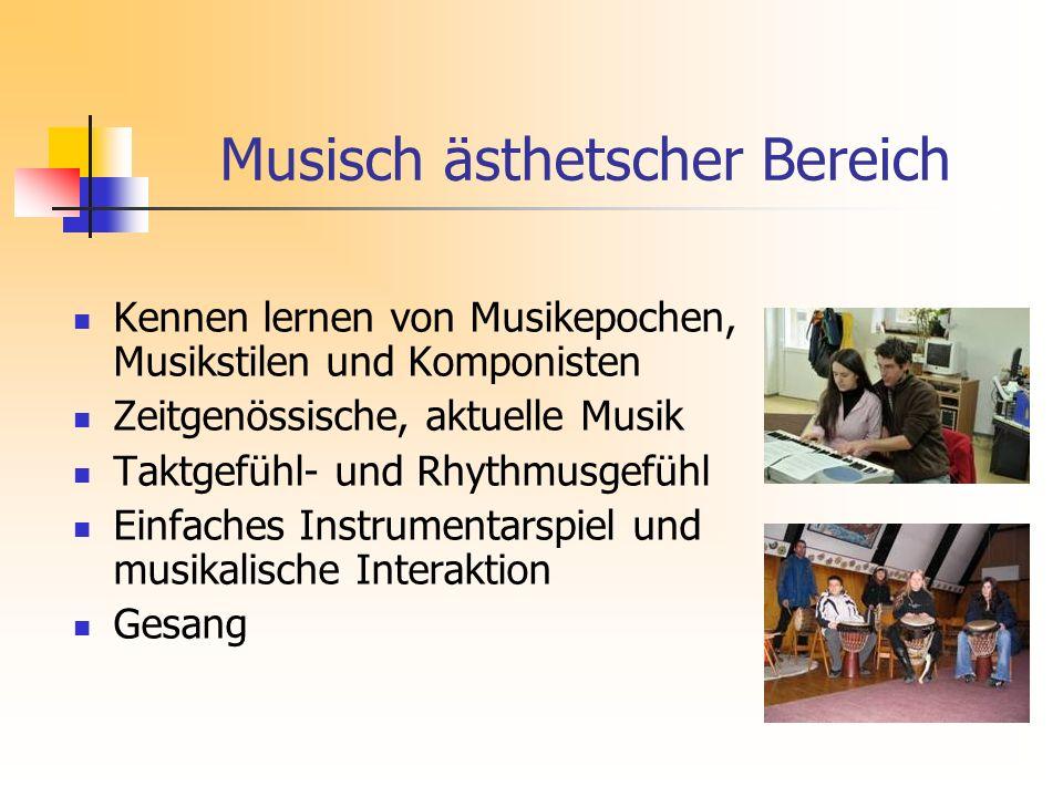 Kennen lernen von Musikepochen, Musikstilen und Komponisten Zeitgenössische, aktuelle Musik Taktgefühl- und Rhythmusgefühl Einfaches Instrumentarspiel und musikalische Interaktion Gesang Musisch ästhetscher Bereich