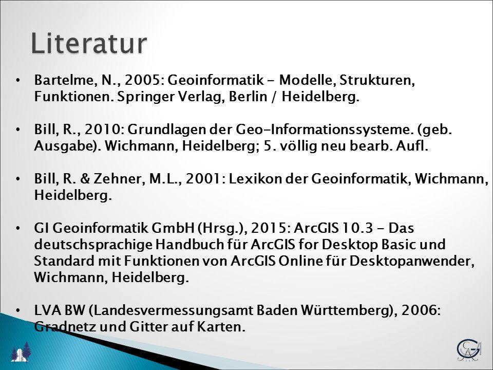 Links Husmann, H., & Schulz, K.: Step by Step das GIS Tutorium: http://www.gis- forum.info/studium/tutorials/stepbystep/ ArcGis_Tutorial/index.htm http://www.gis- forum.info/studium/tutorials/stepbystep/ ArcGis_Tutorial/index.htm Anonymous: GISWiki.