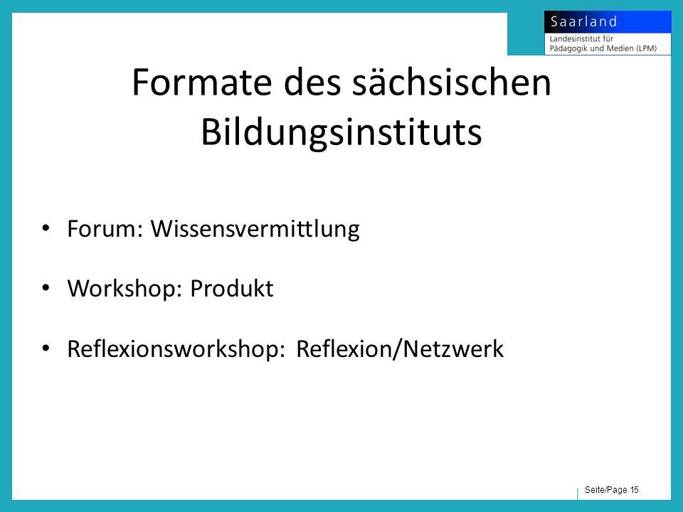 Seite/Page 15 Formate des sächsischen Bildungsinstituts Forum: Wissensvermittlung Workshop: Produkt Reflexionsworkshop: Reflexion/Netzwerk