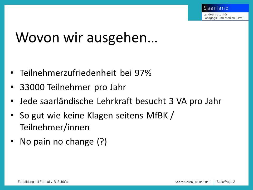Seite/Page 2 Fortbildung mit Format v. B. Schäfer Saarbrücken, 18.01.2013 Wovon wir ausgehen… Teilnehmerzufriedenheit bei 97% 33000 Teilnehmer pro Jah