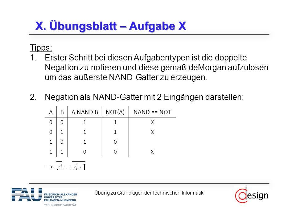 X. Übungsblatt – Aufgabe X Tipps: 1.Erster Schritt bei diesen Aufgabentypen ist die doppelte Negation zu notieren und diese gemäß deMorgan aufzulösen