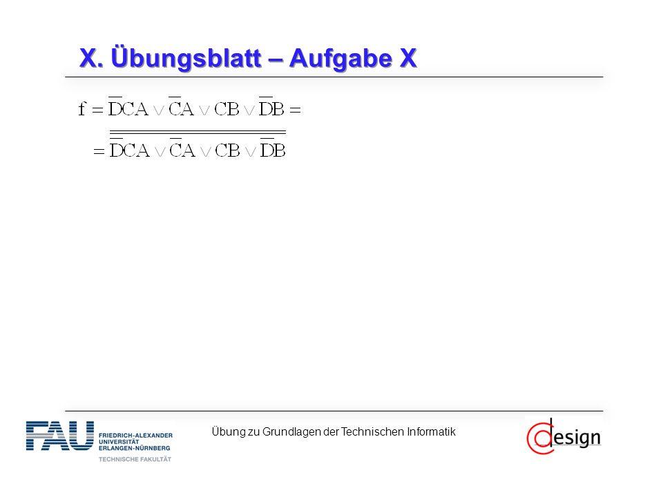 X. Übungsblatt – Aufgabe X Übung zu Grundlagen der Technischen Informatik