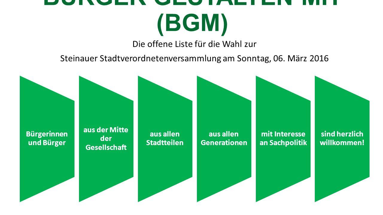 BÜRGER GESTALTEN MIT (BGM) Die offene Liste für die Wahl zur Steinauer Stadtverordnetenversammlung am Sonntag, 06.