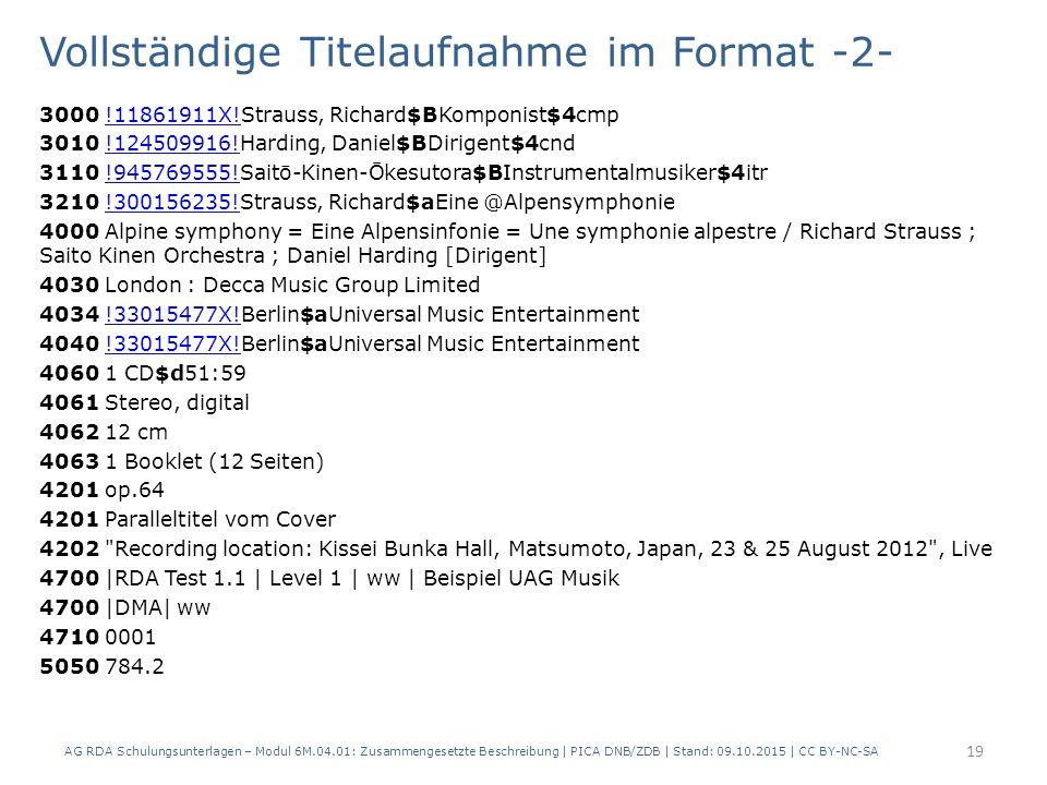 Vollständige Titelaufnahme im Format -2- 3000 !11861911X!Strauss, Richard$BKomponist$4cmp!11861911X.